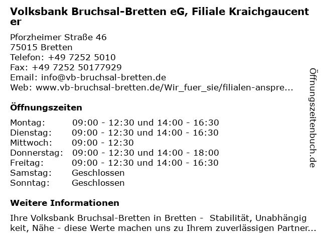 Volksbank Bruchsal-Bretten eG, Filiale Kraichgaucenter in Bretten: Adresse und Öffnungszeiten