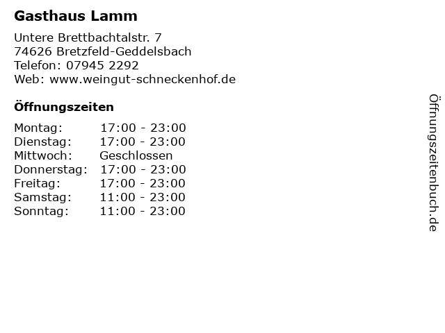 Gasthaus Lamm in Bretzfeld-Geddelsbach: Adresse und Öffnungszeiten