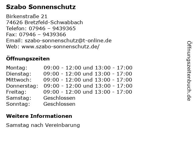Szabo Sonnenschutz in Bretzfeld-Schwabbach: Adresse und Öffnungszeiten