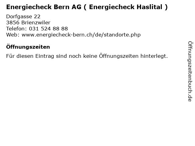 Energiecheck Bern AG ( Energiecheck Haslital ) in Brienzwiler: Adresse und Öffnungszeiten