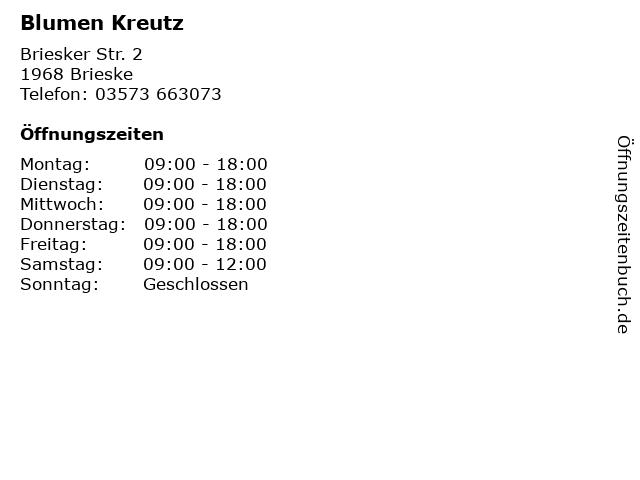 Blumen Kreutz in Brieske: Adresse und Öffnungszeiten
