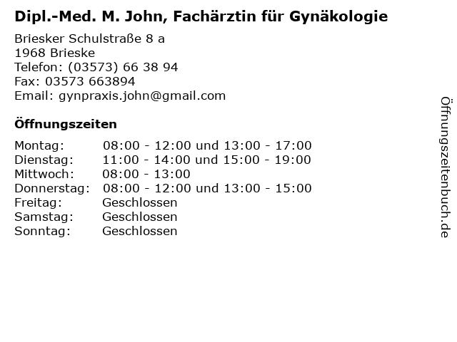 Dipl.-Med. M. John, Fachärztin für Gynäkologie in Brieske: Adresse und Öffnungszeiten