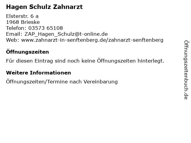 Hagen Schulz Zahnarzt in Brieske: Adresse und Öffnungszeiten