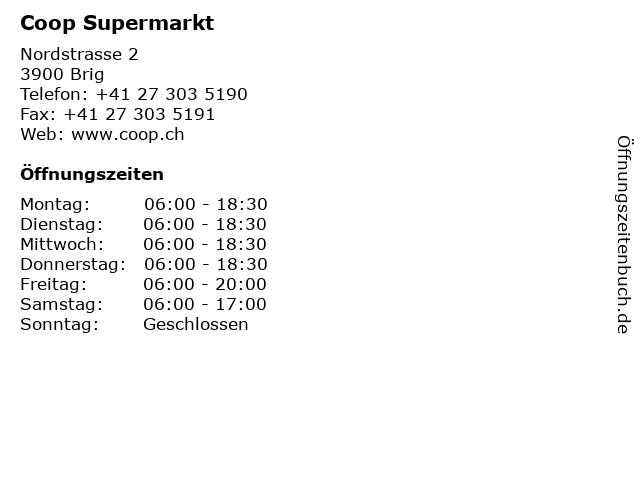 Coop Supermarkt in Brig: Adresse und Öffnungszeiten