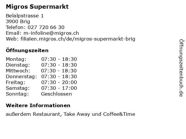Migros Supermarkt in Brig: Adresse und Öffnungszeiten
