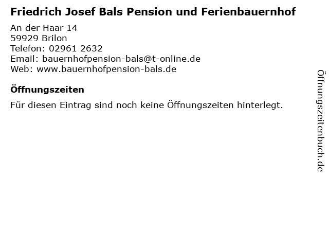 Friedrich Josef Bals Pension und Ferienbauernhof in Brilon: Adresse und Öffnungszeiten
