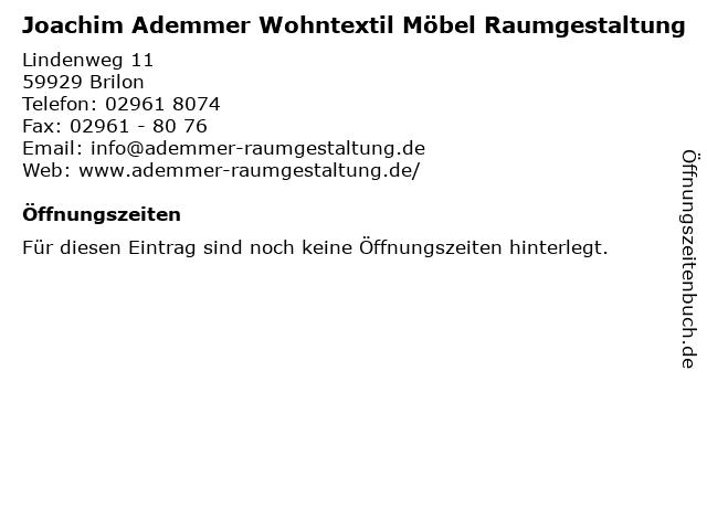 ᐅ öffnungszeiten Joachim Ademmer Wohntextil Möbel Raumgestaltung