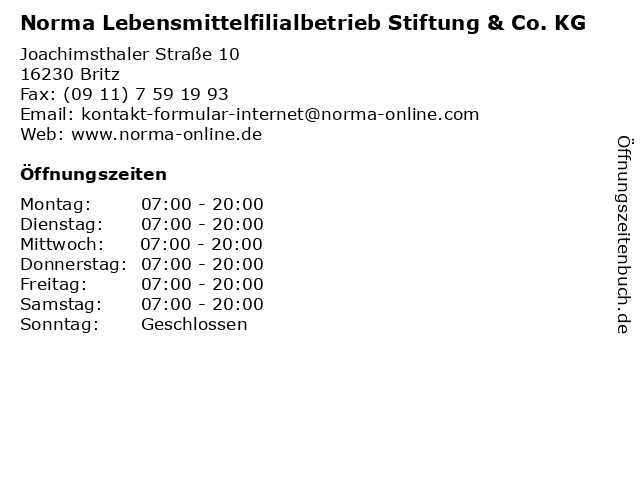 Norma Lebensmittelfilialbetrieb Stiftung & Co. KG in Britz: Adresse und Öffnungszeiten