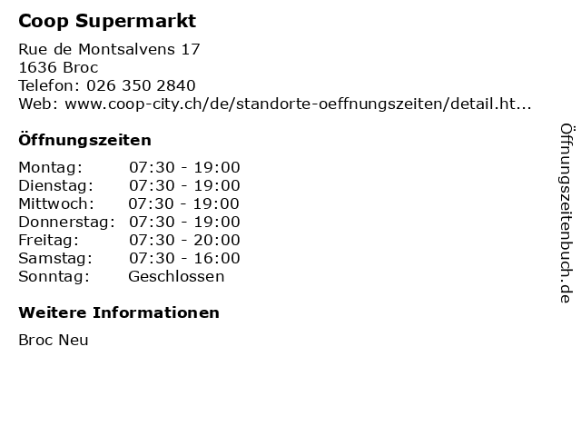 Coop Supermarkt in Broc: Adresse und Öffnungszeiten