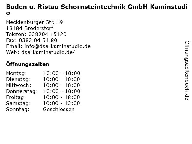 Boden u. Ristau Schornsteintechnik GmbH Kaminstudio in Broderstorf: Adresse und Öffnungszeiten