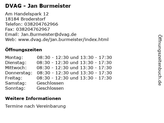 DVAG - Jan Burmeister in Broderstorf: Adresse und Öffnungszeiten