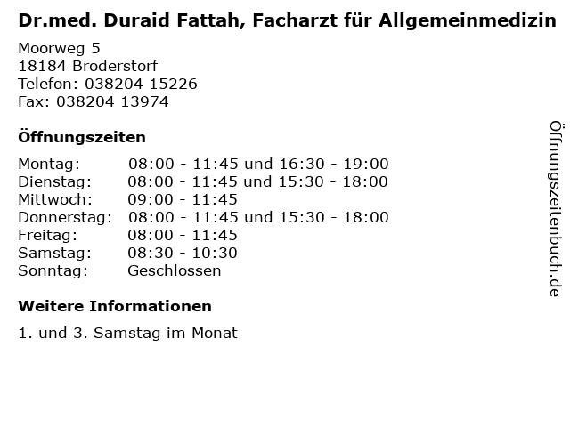 Dr.med. Duraid Fattah, Facharzt für Allgemeinmedizin in Broderstorf: Adresse und Öffnungszeiten