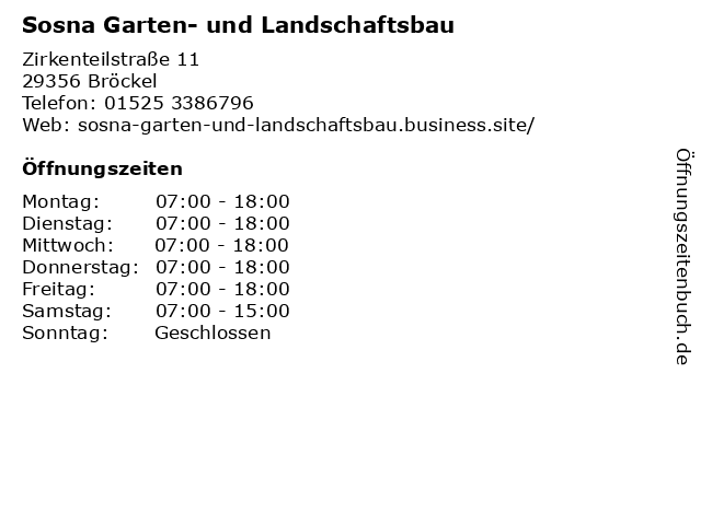 Sosna Garten- und Landschaftsbau in Bröckel: Adresse und Öffnungszeiten