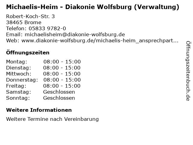 Michaelis-Heim - Diakonie Wolfsburg (Verwaltung) in Brome: Adresse und Öffnungszeiten