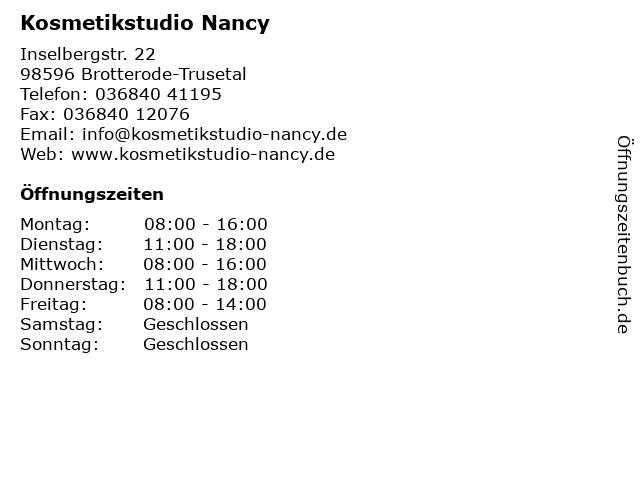 Kosmetikstudio Nancy in Brotterode-Trusetal: Adresse und Öffnungszeiten