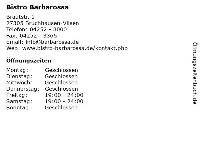 Bistro Barbarossa in Bruchhausen-Vilsen: Adresse und Öffnungszeiten