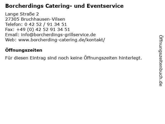 Borcherdings Catering- und Eventservice in Bruchhausen-Vilsen: Adresse und Öffnungszeiten