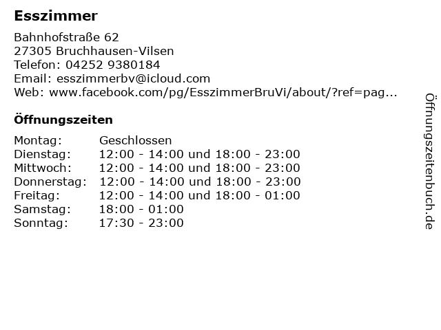 Esszimmer in Bruchhausen-Vilsen: Adresse und Öffnungszeiten