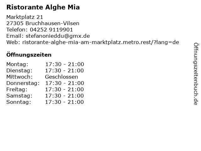 Ristorante Alghe Mia in Bruchhausen-Vilsen: Adresse und Öffnungszeiten