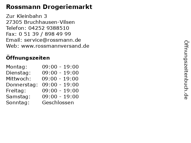 Rossmann Drogeriemarkt in Bruchhausen-Vilsen: Adresse und Öffnungszeiten