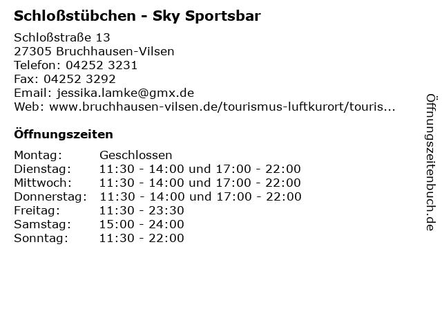 Schloßstübchen - Sky Sportsbar in Bruchhausen-Vilsen: Adresse und Öffnungszeiten