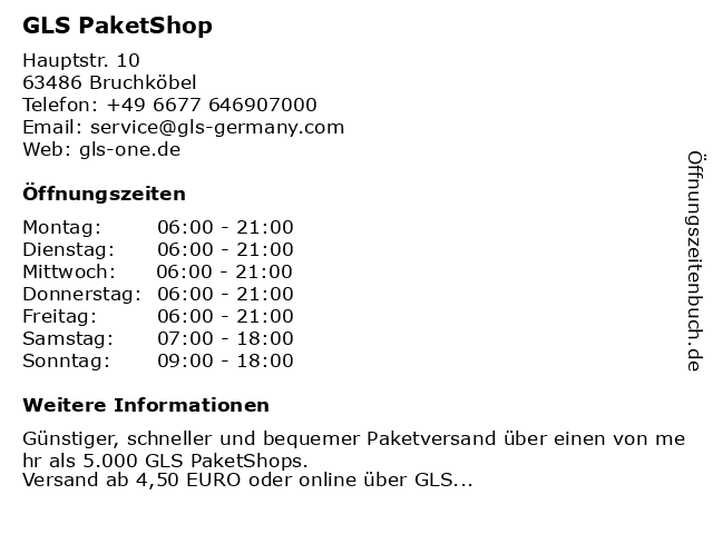 GLS PaketShop in Bruchköbel: Adresse und Öffnungszeiten