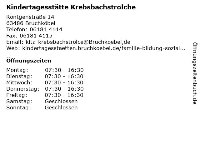 Kindertagesstätte Krebsbachstrolche in Bruchköbel: Adresse und Öffnungszeiten