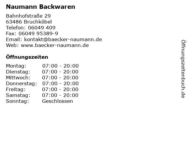 Naumann Backwaren in Bruchköbel: Adresse und Öffnungszeiten