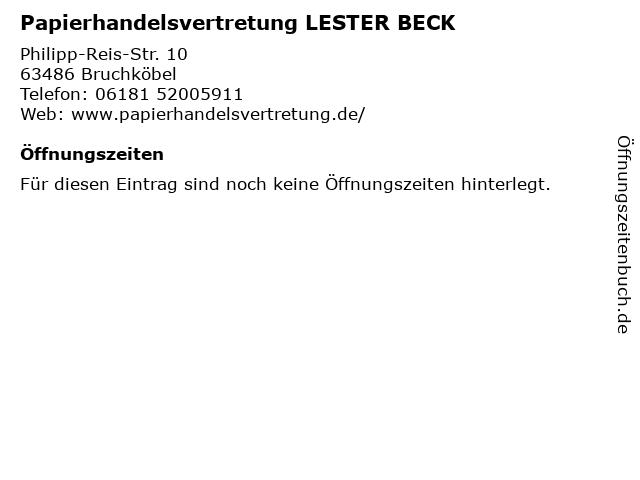 Papierhandelsvertretung LESTER BECK in Bruchköbel: Adresse und Öffnungszeiten