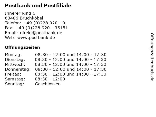 Postbank und Postfiliale in Bruchköbel: Adresse und Öffnungszeiten