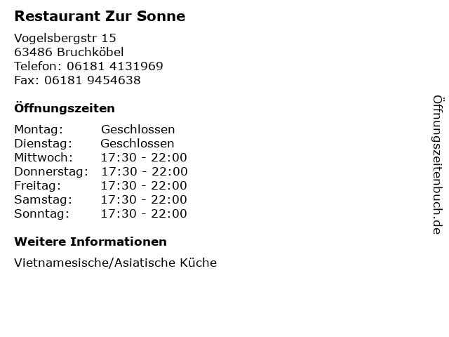 Restaurant Zur Sonne in Bruchköbel: Adresse und Öffnungszeiten