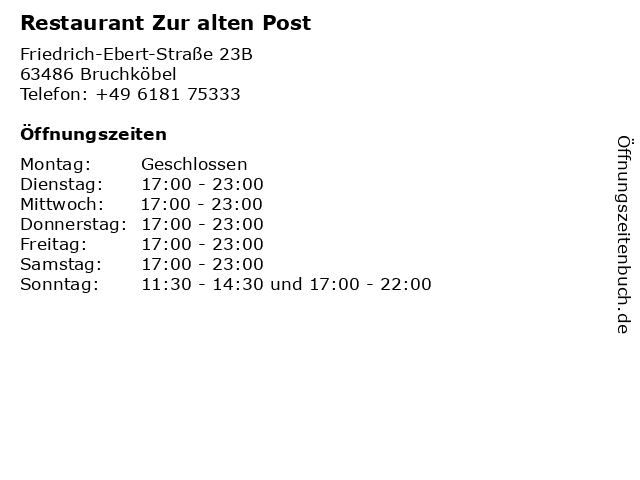 Restaurant Zur alten Post in Bruchköbel: Adresse und Öffnungszeiten