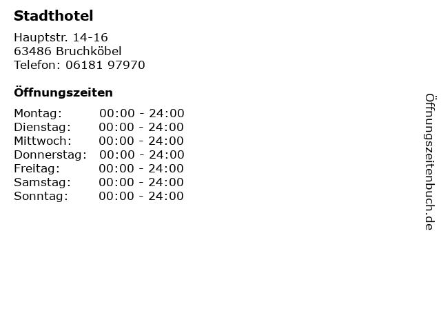 Stadthotel in Bruchköbel: Adresse und Öffnungszeiten