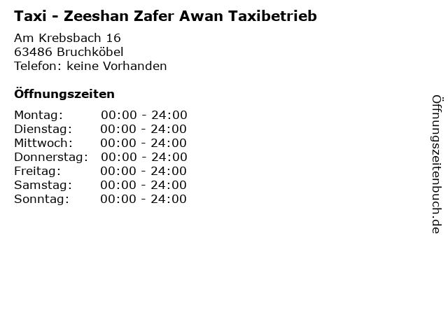Taxi - Zeeshan Zafer Awan Taxibetrieb in Bruchköbel: Adresse und Öffnungszeiten