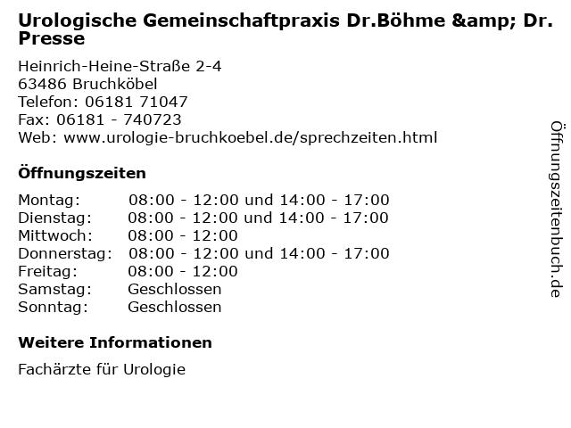 Urologische Gemeinschaftpraxis Dr.Böhme & Dr.Presse in Bruchköbel: Adresse und Öffnungszeiten
