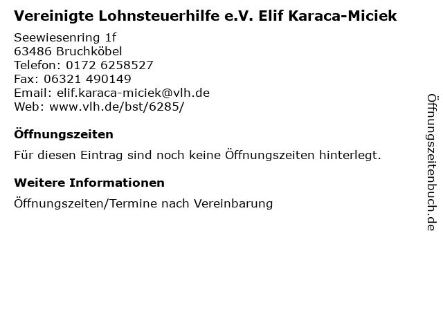 Vereinigte Lohnsteuerhilfe e.V. Elif Karaca-Miciek in Bruchköbel: Adresse und Öffnungszeiten