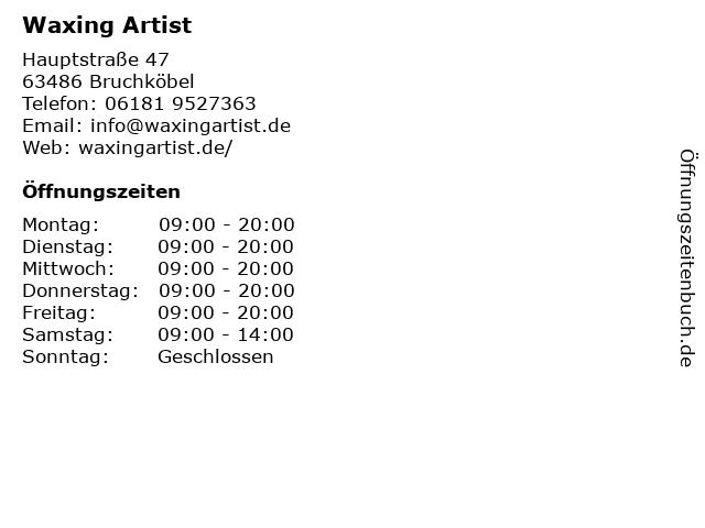 Waxing Artist in Bruchköbel: Adresse und Öffnungszeiten
