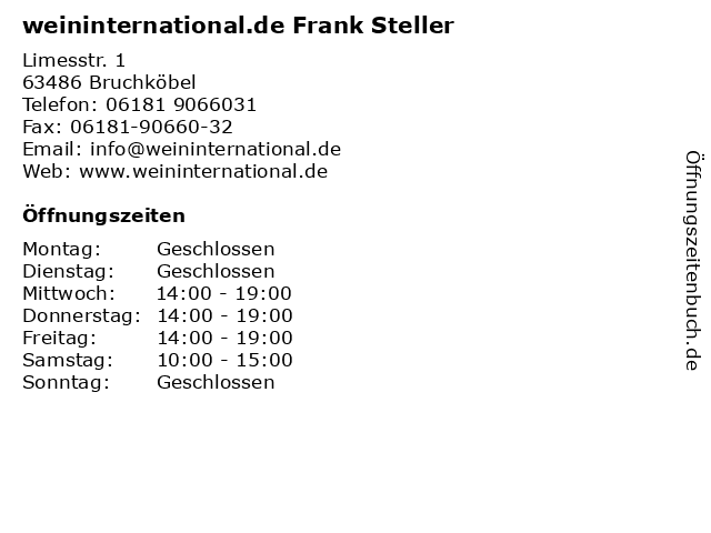 weininternational.de Frank Steller in Bruchköbel: Adresse und Öffnungszeiten