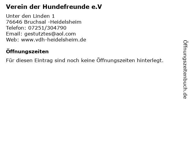 Verein der Hundefreunde e.V in Bruchsal -Heidelsheim: Adresse und Öffnungszeiten