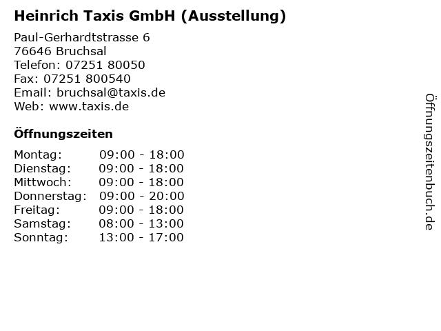 ᐅ Offnungszeiten Heinrich Taxis Gmbh Ausstellung Paul