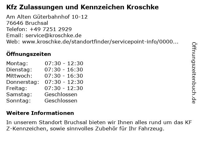 Kfz Zulassungen und Kennzeichen Kroschke in Bruchsal: Adresse und Öffnungszeiten