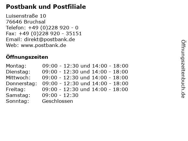 Postbank und Postfiliale in Bruchsal: Adresse und Öffnungszeiten