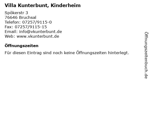 Villa Kunterbunt, Kinderheim in Bruchsal: Adresse und Öffnungszeiten