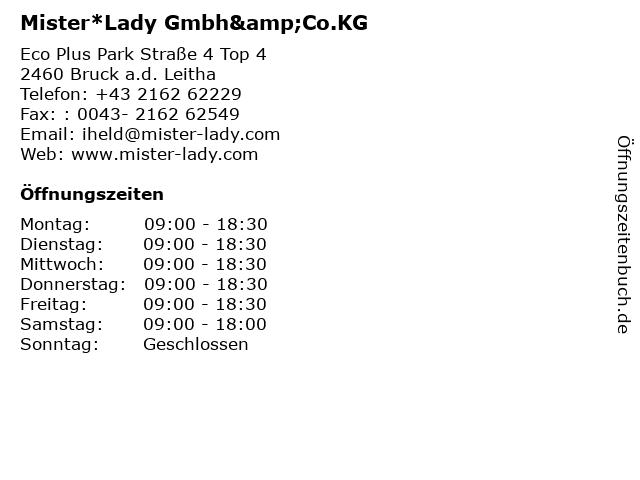 Mister*Lady Gmbh&Co.KG in Bruck a.d. Leitha: Adresse und Öffnungszeiten