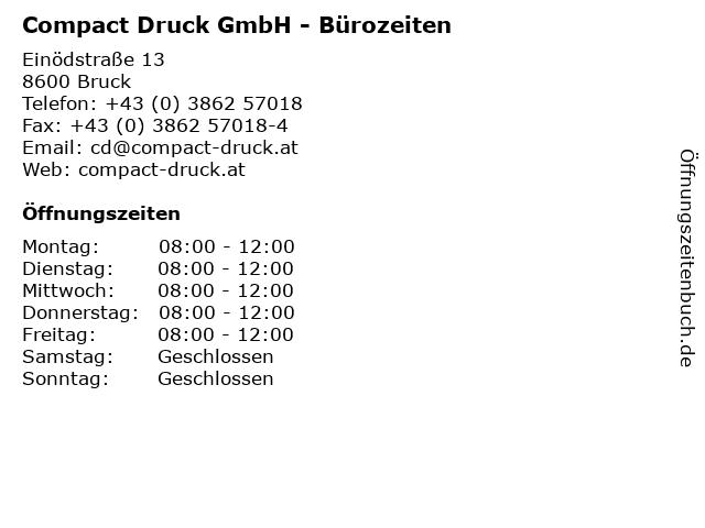Compact Druck GmbH - Bürozeiten in Bruck: Adresse und Öffnungszeiten