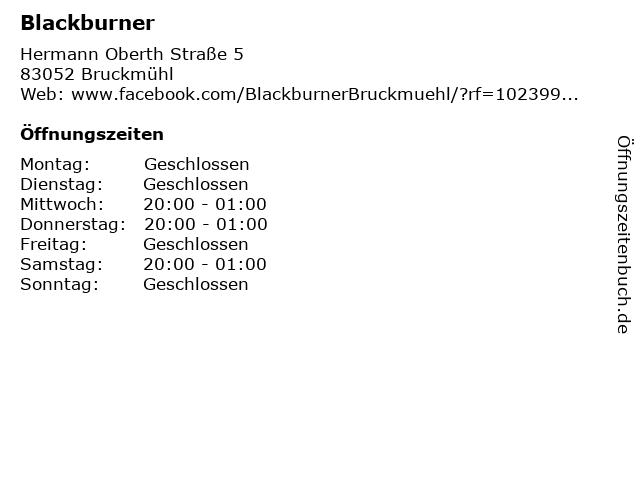 Blackburner in Bruckmühl: Adresse und Öffnungszeiten