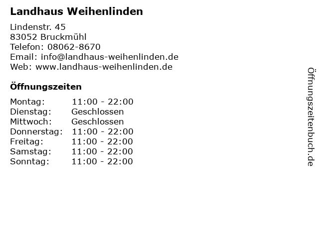 Gasthaus Weihenlinden in Bruckmühl: Adresse und Öffnungszeiten