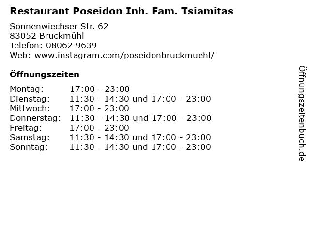 Restaurant Poseidon Inh. Fam. Tsiamitas in Bruckmühl: Adresse und Öffnungszeiten
