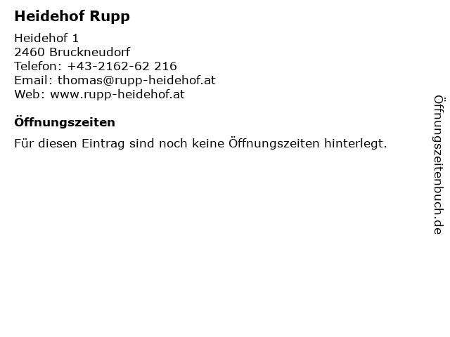 Heidehof Rupp in Bruckneudorf: Adresse und Öffnungszeiten