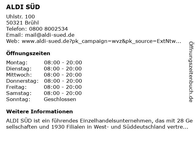 ALDI Süd in Brühl: Adresse und Öffnungszeiten